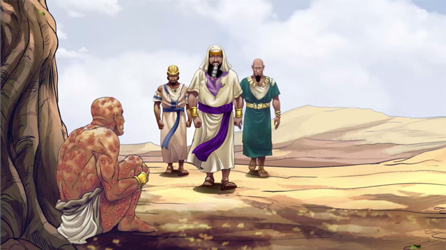 iBIBLE image of Job's three friends walking up to speak to him and comfort him