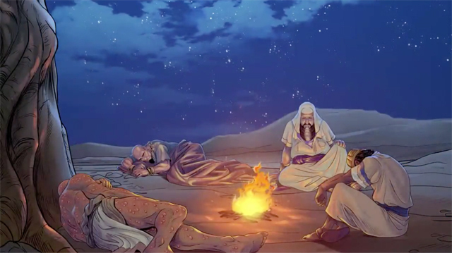 iBIBLE image of Job and his three friends sitting/laying around a fire