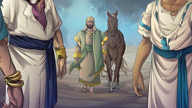 iBIBLE image of Elihu walking up with his donkey