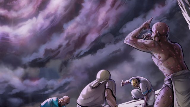 iBIBLE image of a cloudy storm brewing as Job and others look up at it