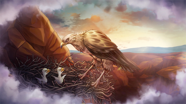 iBIBLE image of a bald eagle standing in its nest looking down at its babies