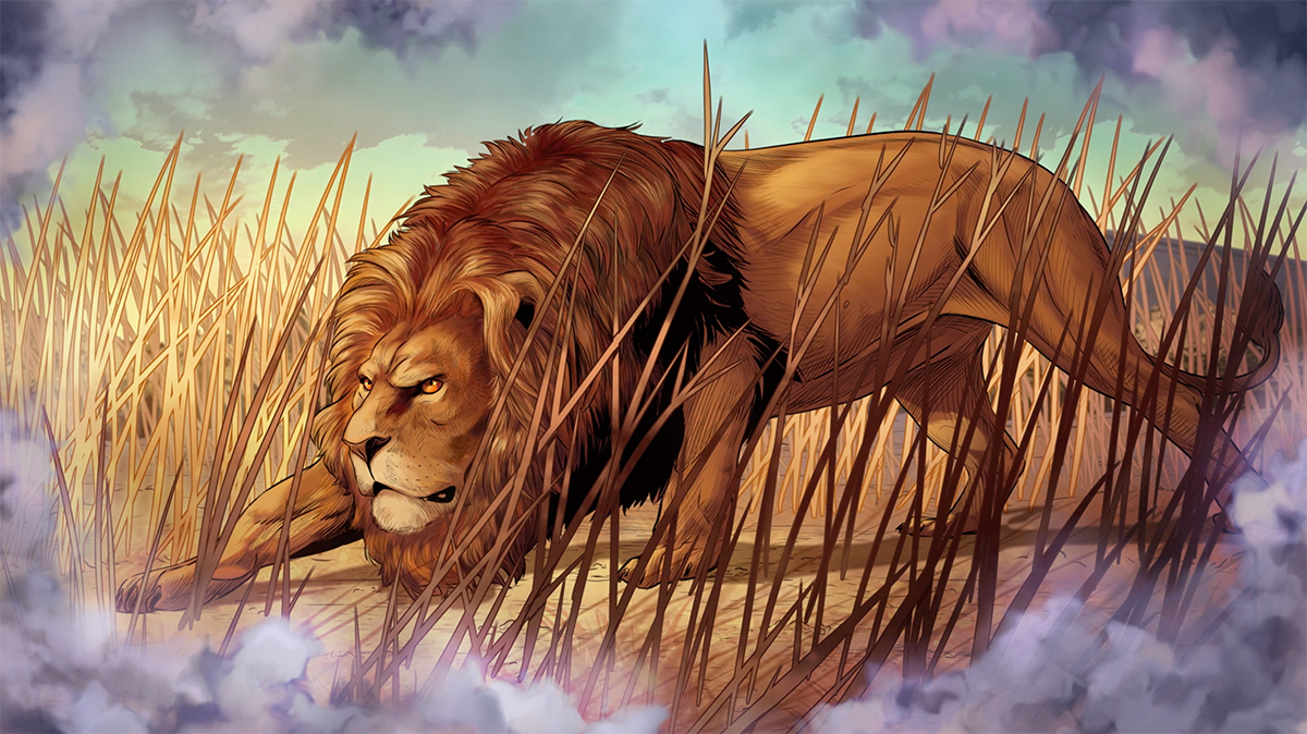iBIBLE image of a lion crouched down in high grass