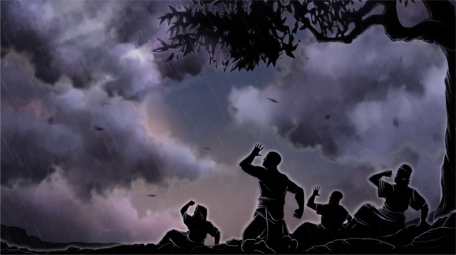 iBIBLE image of silhouettes of Job and his friends against a dark, stormy night sky