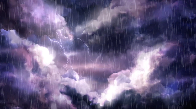 iBIBLE image of a dark, stormy night sky with rain and lightening