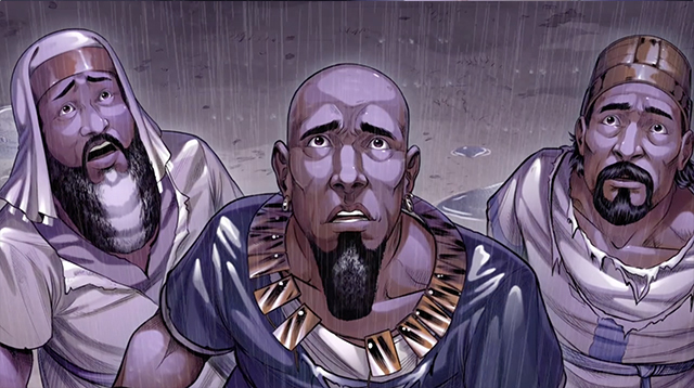 iBIBLE image of Job and two of his friends looking up to the sky as it rains