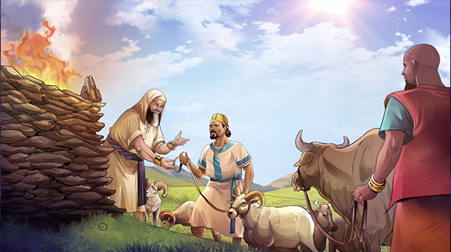 iBIBLE image of Job's friends bringing the seven bulls and seven rams to offer a burnt offering