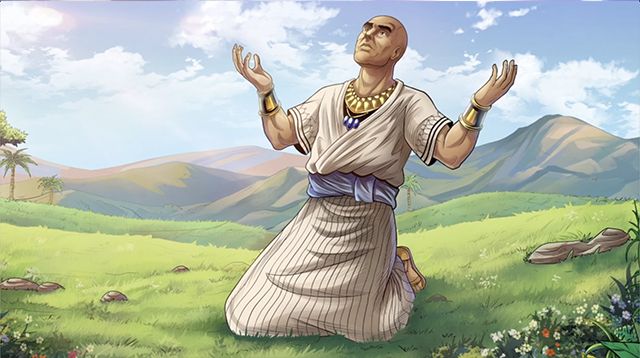 iBIBLE image of Job after he has been healed on his knees with arms raised and looking up to Heaven