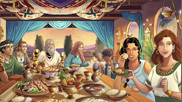 iBIBLE image of Job full of years sitting at a table for a feast surrounded by his many children