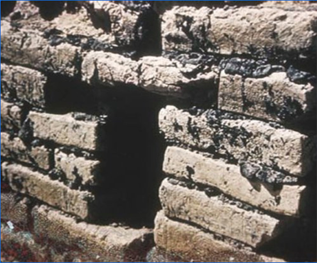 Actual image of bricks secured with tar