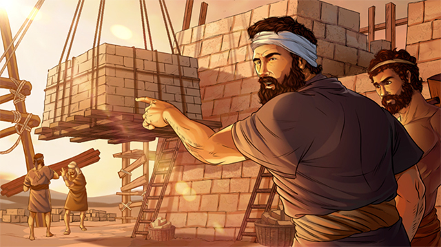 iBIBLE image of the Tower of Babel being built