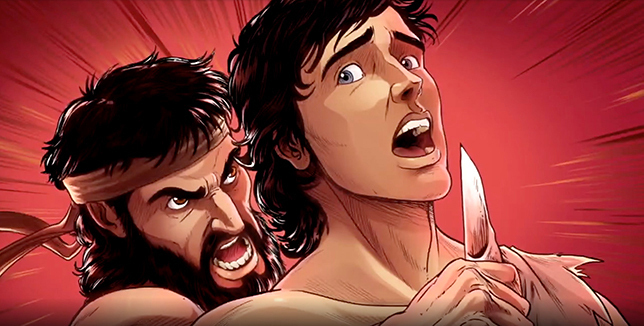 iBIBLE image of Cain holding a knife to Abel's neck