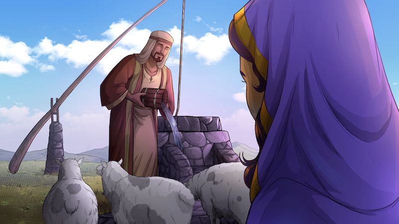 Image of Jacob watering Laban's flock while Rachel watches