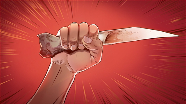 iBIBLE image of Cain's hand holding the knife he used to kill Abel