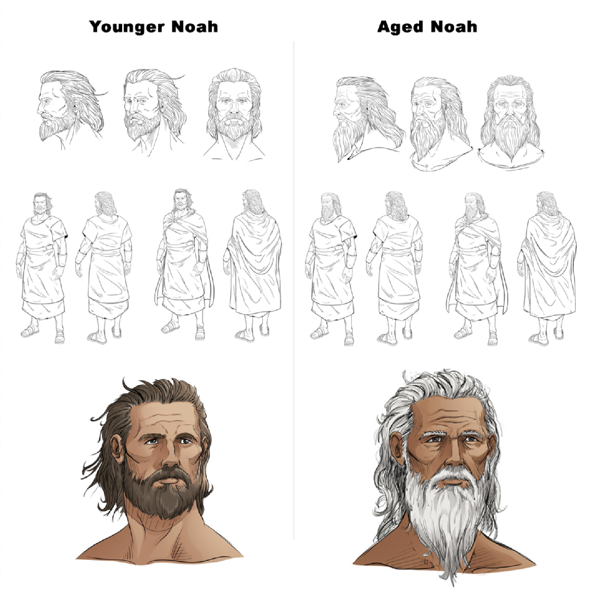 iBIBLE image of Noah showing character sketches and then final images of Noah younger and him aged.