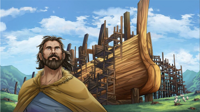 Completed iBIBLE image of Noah when he is younger standing in from of the Ark he is building
