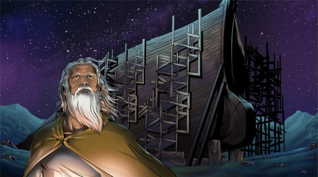 Completed iBIBLE image of Noah when he is older and the ark is more complete.