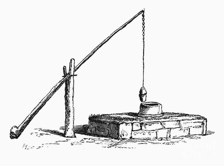 Image of a shaduf- a large pole balanced on a crossbeam