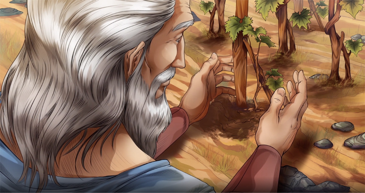 iBIBLE image of Noah planting vines in his vineyard