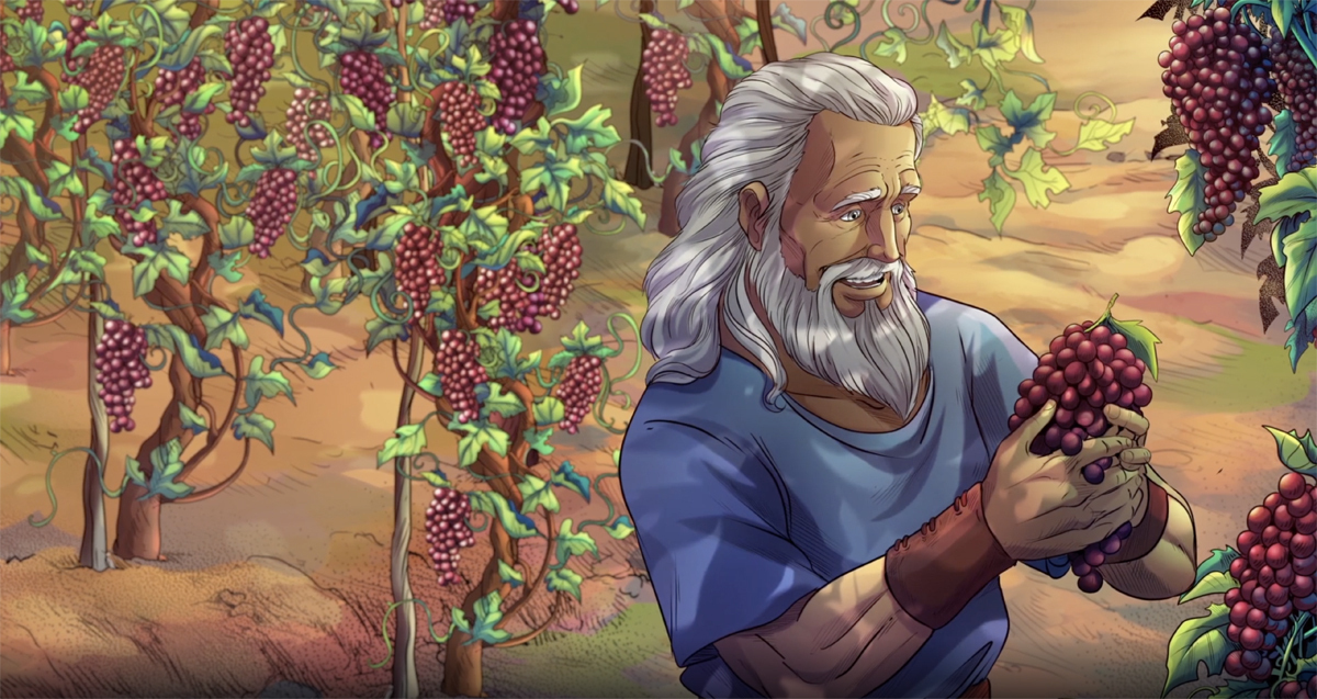 iBIBLE image of Noah looking at grapes in his vineyard