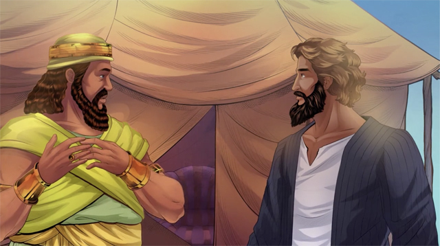 iBIBLE image of the king of Sodom offering Abram all the spoils that he brought back