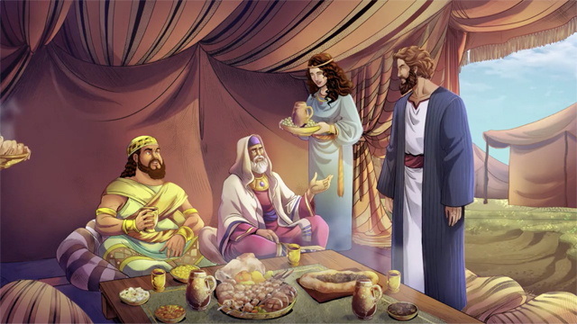 iBIBLE image of Abram sharing a meal with Melchizadek