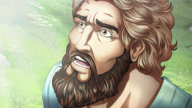 iBIBLE closeup image of Abram's face looking to the sky receiving the call to Mesopotamia