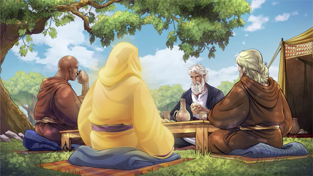 iBIBLE image of the Abram and others eating as he receives the Lord's promise of a son