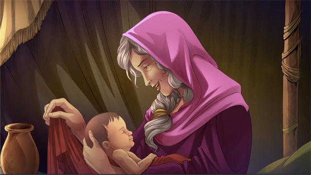 iBIBLE image of Sarah holding Isaac