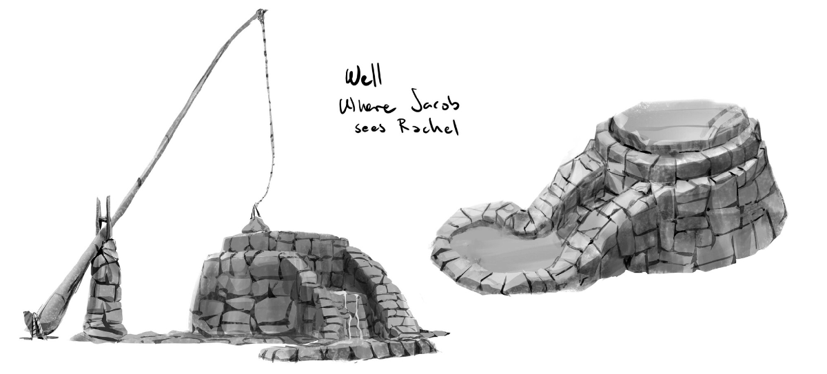 Black and white illustration of the well where Jacob meets Rachel, created or iBIBLE chapter 13