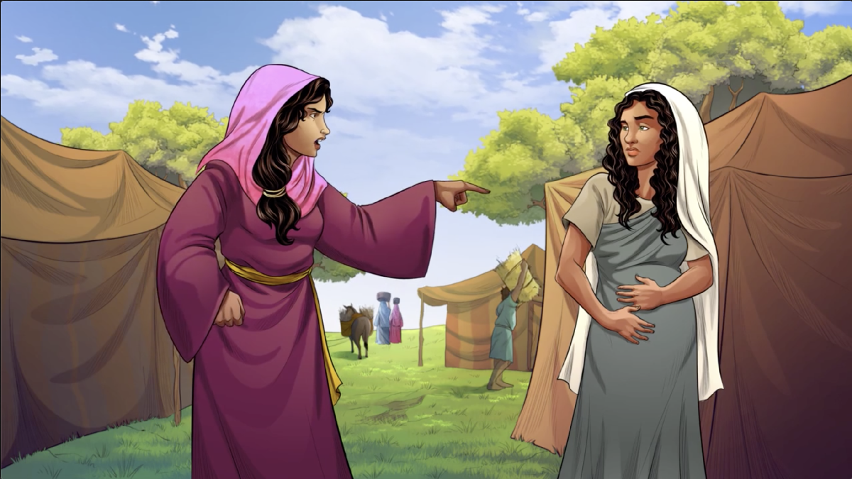 iBIBLE image of Sarai pointing to Hagar in a harsh manor