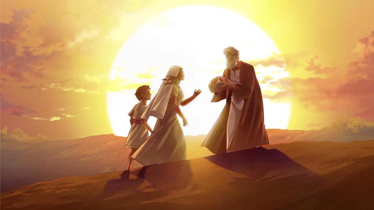 iBIBLE image of Abraham sending Hagar and Ishmael away at night against a moon lit sky