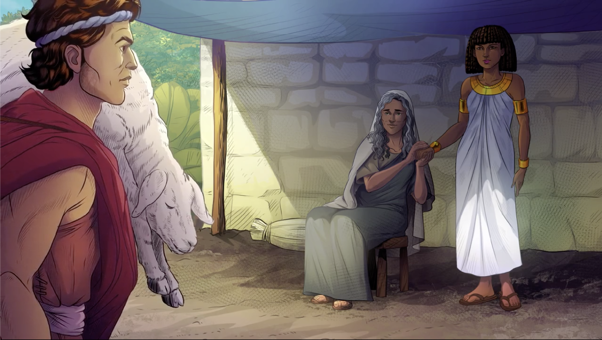 iBIBLE image of Ishmael standing, a lamb draped over his shoulder, in front of his Egyptian wife