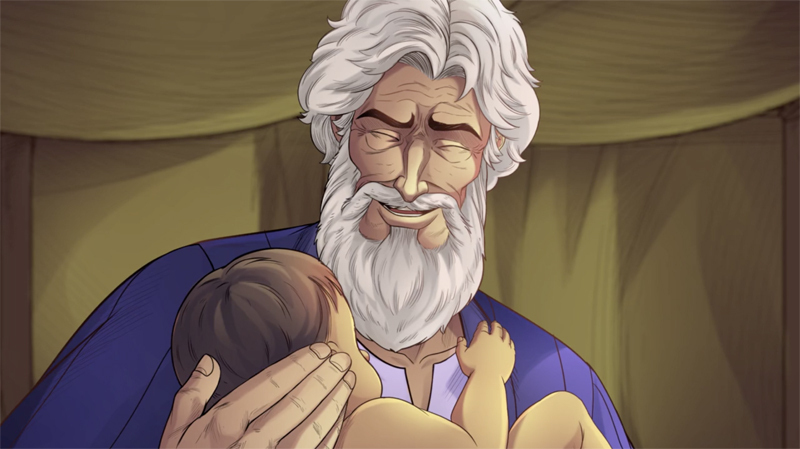 iBIBLE image of Abraham with a joyful face holding baby Isaac