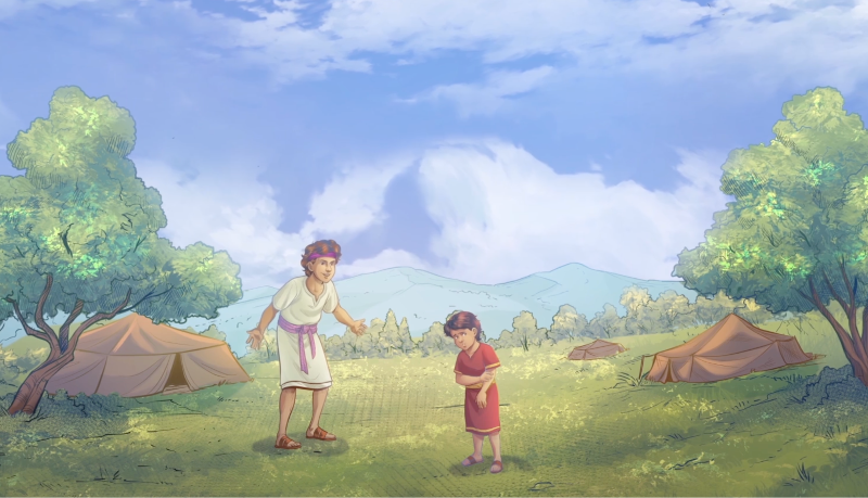 iBIBLE image of Ishmael and Isaac outside and Ishmael is laughing