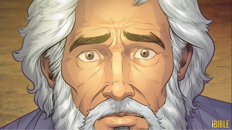 iBIBLE image of a close up of Abraham's face as he is told by God to sacrifice Isaac