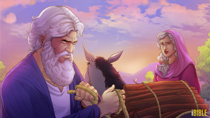 iBIBLE image of Abraham early in the morning saddling his donkey