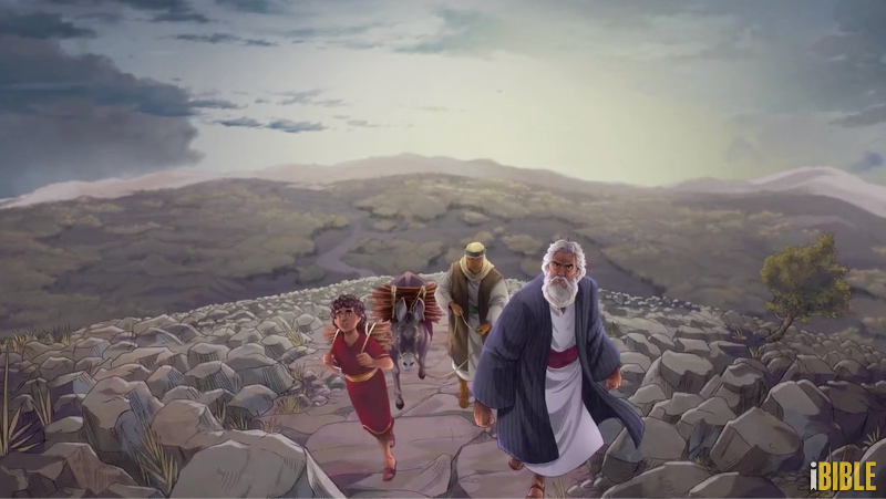 iBIBLE image of Abraham and others traveling to Moriah