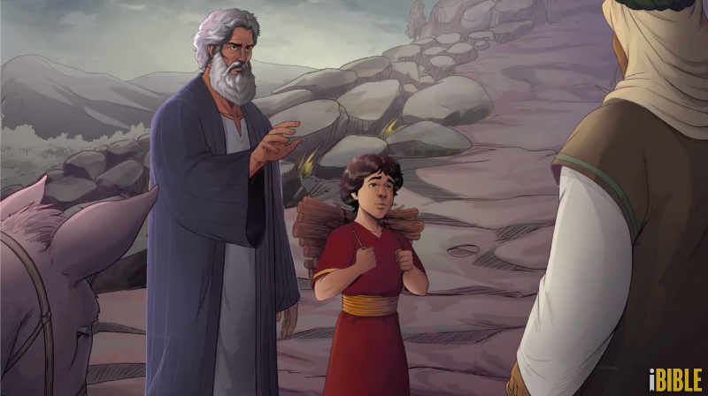 iBIBLE image of Abraham telling the mean to wait as he goes on with Isaac