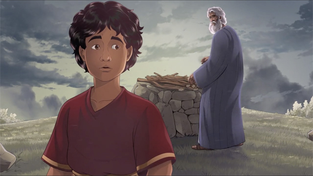 iBIBLE image of Isaac with Abraham in the background preparing the firewood for the sacrifice