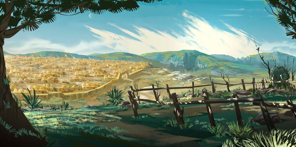 Color image of the iBIBLE illustration of the city of Haran from a distance