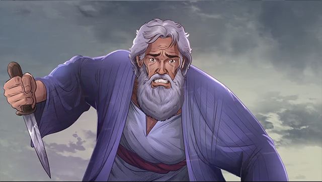 iBIBLE image of Abraham looking up holding a knife