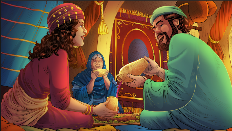 iBIBLE image of Laban asking Rebekah if she will go marry Isaac