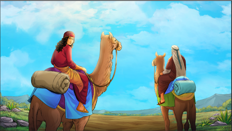 iBIBLE image of Rebekah leaving for Canaan riding a camel