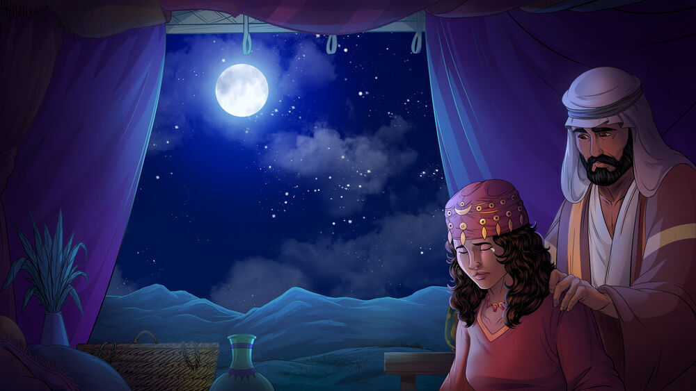 iBIBLE image of a moonlit sky with Isaac and Rebekah looking sad that they cannot have children