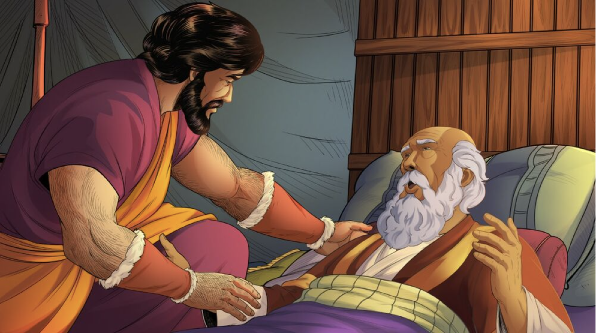 iBIBLE image of Esau leaning over his father Isaac. Isaac asks him to hunt venison for the blessing