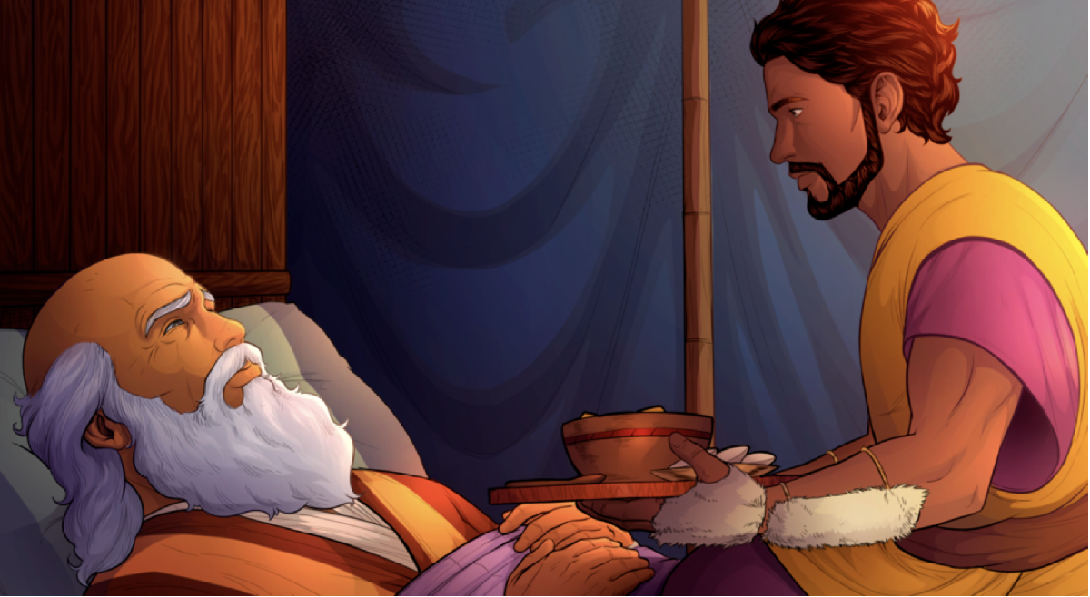 iBIBLE image of Jacob dressed as Esau bringing food to his father