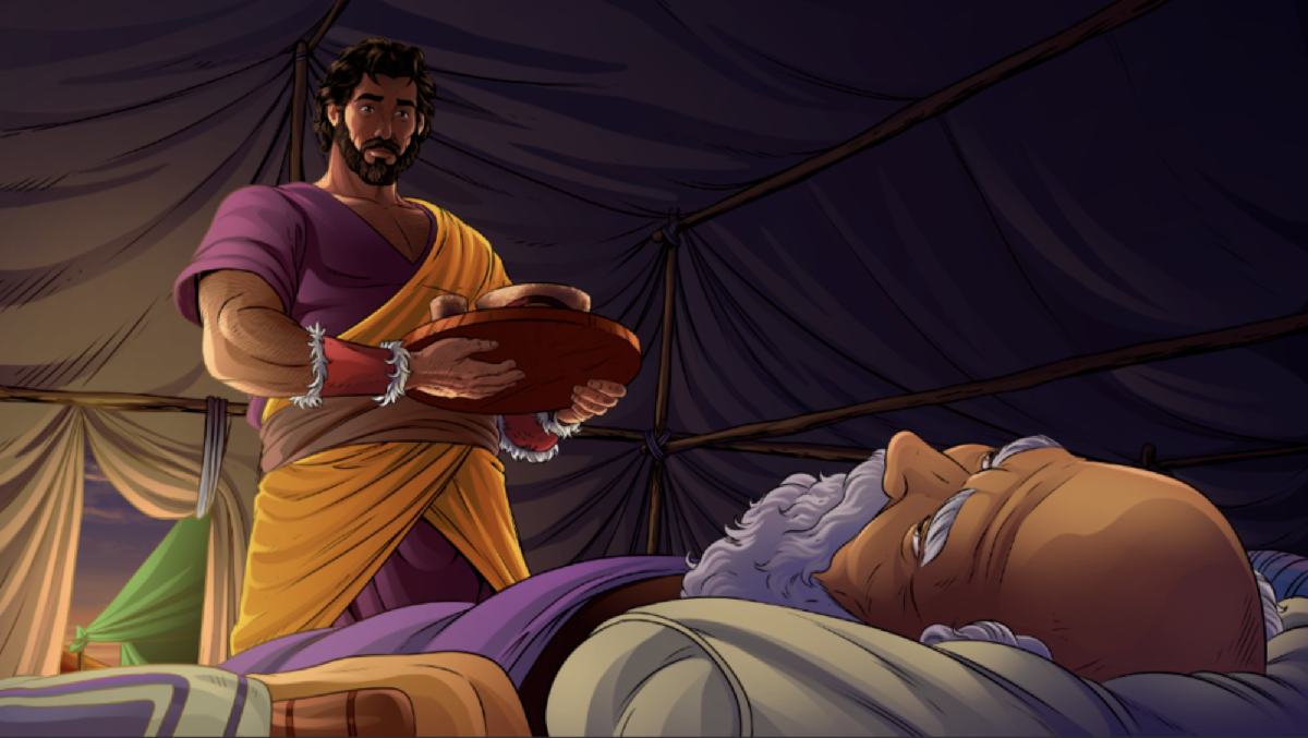 iBIBLE image of Esau arriving with food for Isaac