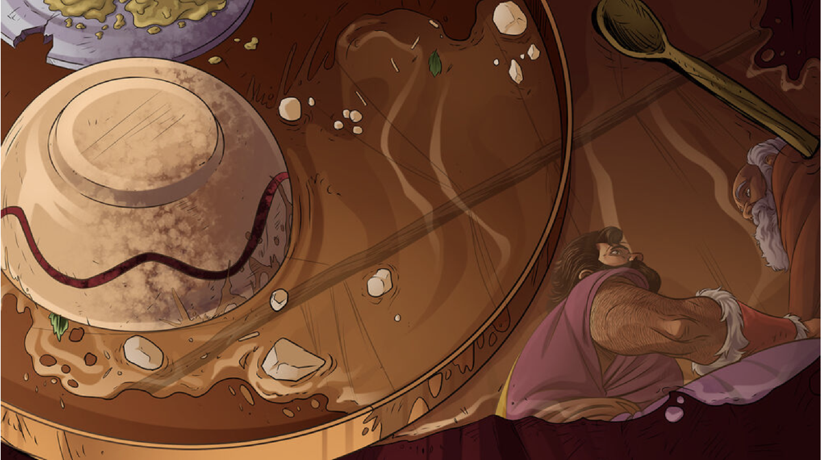 iBIBLE image of spilt food with reflection of Esau pleading with Isaac to give him another blessing