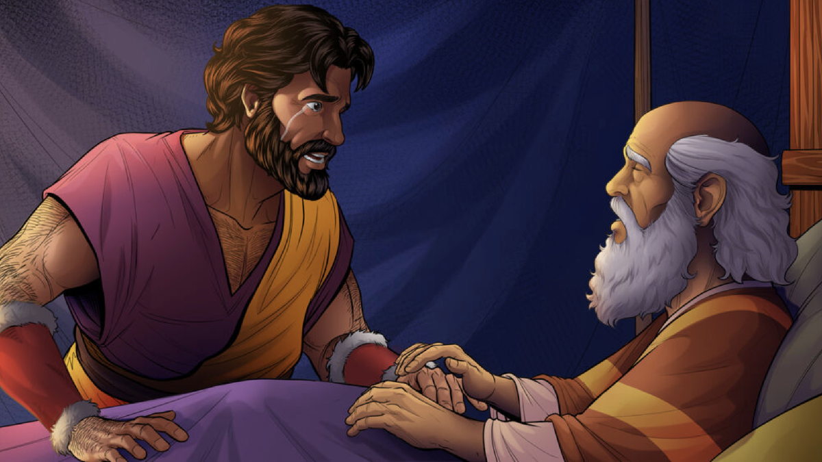 iBIBLE image of Isaac sitting with a weeping Esau as he realizes the blessing is gone