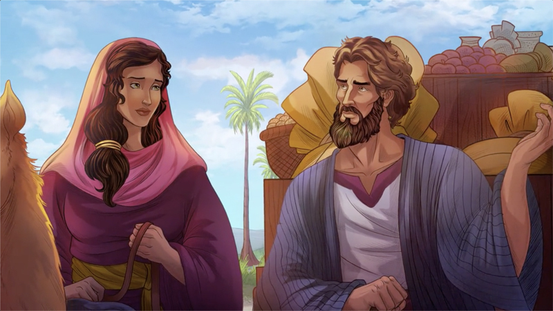 iBIBLE image of Abram asking Sarai to say she is his sister